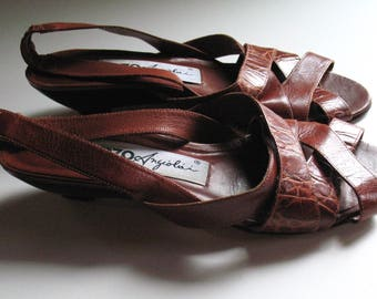 1970s cognac leather strappy wedge sandals, 8