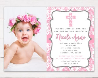 Printable Baptism or First Communion Damask Pink Girl Invitation | Pink Damask Christening Invitation | With Photo