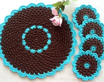 Crochet Placemat Crochet Coasters Table linens Kitchen Decor Gift Crochet Doilies Tablecloth Crochet Doily Round Cotton Table Home Decor