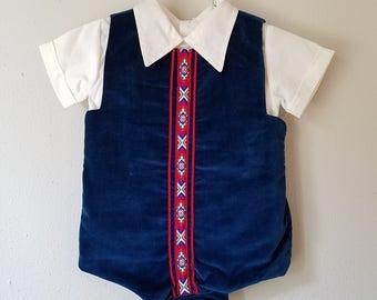Vintage Boys Navy Blue Velvet Jon Jon Romper with White shirt by C.I. Castro - Size 12 months- New, never worn
