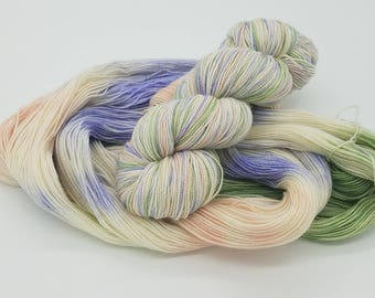 Hand Dyed Superwash Merino Wool Sock Yarn - Field of Flowers, Merino 2 ply, indie dyed yarn, dyed sock yarn, sock yarn, verigated yarn