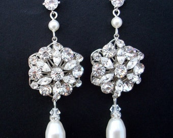 swarovski crystal earrings  bridal earrings pearl bridal earrings  chandelier earrings rhinestone earrings wedding pearl earrings ALEXANDRA