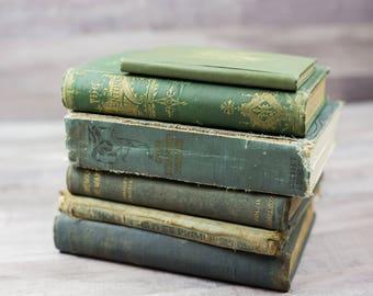 Antique Vintage Tattered Old Teal Green Blue Book Bundle Home Decor Book Shelf