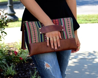 Bohemian Stripe Clutch / Kindle Case / Hand Handle