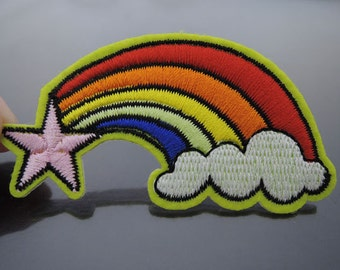 Rainbow Patches - Iron on Patches or Sewing on Patch Rainbow Cloud Star Patches Embroidered Patch Embellishment