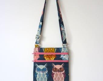 Fabric Crossbody Bag, Owl Crossbody Bag, Small Bag, Art Gallery Fabric Purse, Owl Handbag, Blue Bag