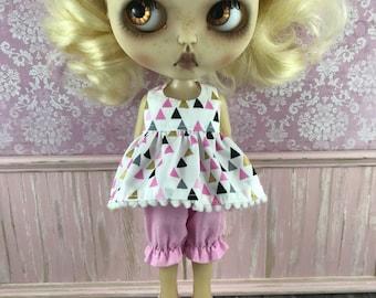 Sale Blythe Dress & Bloomer Set - Pink Black and White Diamonds