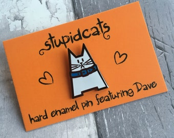 Cat Enamel Pin, Enamel Cat Badge, Hard Enamel Brooch featuring Dave the Cat, White Cat Lapel Pin