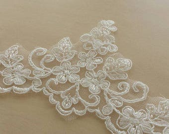 Ivory Lace Trimming by the yard, French Lace, Alencon Lace, Bridal Gown lace, Wedding Lace, White Lace, Veil lace, Garter lace KSBL81505C
