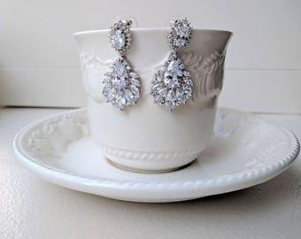 Cubic zirconia drop earrings - Eunice