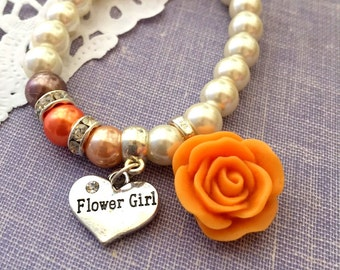 Flower girl, flowergirl, autumn, fall wedding, orange, brown, rose, stretchy bracelet. CHILD sized.