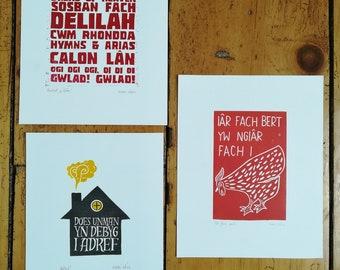 "SALE - 8"" x 10"" original linocut prints, rugby, home, hen, music"