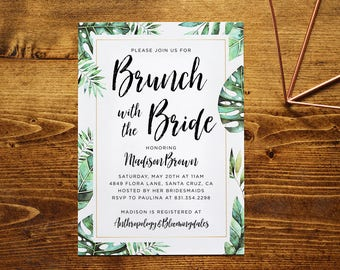 Tropical Bridal Shower Invitation | Watercolor Palm Tree, Monstera, Greenery Invite | Customized, Printable Invitation