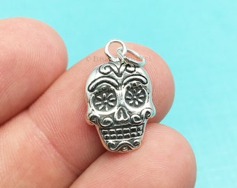 Sterling Silver Mexican Sugar Skull Bracelet Charm, Day Of The Dead, .925 Silver, DIY, Charms, (C306)