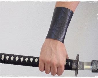 Black Leather Bracer, Black Leather Arm Guard, Gothic Fantasy Drow Bracer, Goth Leather Brace With Spider Web Design, Assassin Bracer
