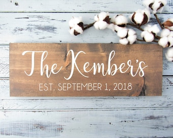 Personalized Wood Sign. Family Name Hand Painted Sign. Wedding Gift. Anniversary. Bridal Shower. Last Name. Established Sign. Farmhouse Sign