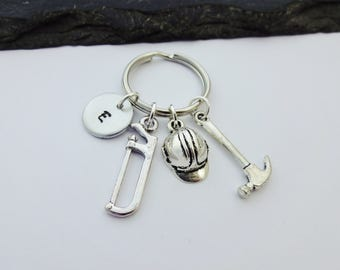 Builder Keyring, Initial Keychain, Builder Gift, Tool Keyring, Hand Stamped Keyring, Builder Keychain, Mens Gift, Construction Worker Gifts