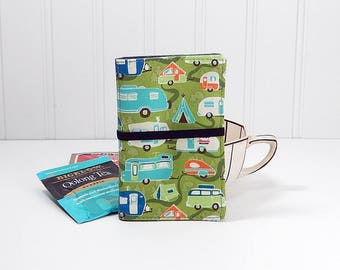 Camper Tea wallet - fabric teabag caddie - tea bag case - 4 pockets - holiday gift - gift for tea drinker - gift for camper