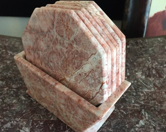 Carrera marble coasters Maitland smith matching stone rose Pantone pink octagon marble coasters with geo holder caddy
