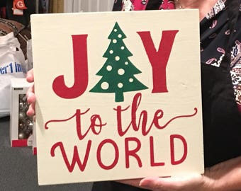 Joy to the world, wood sign, framed, rustic farmhouse decor, white red and green, handpainted christmas sign
