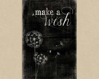 INSTANT DOWNLOAD - Printable Wall Art 11x17 Make A Wish - Dandelions