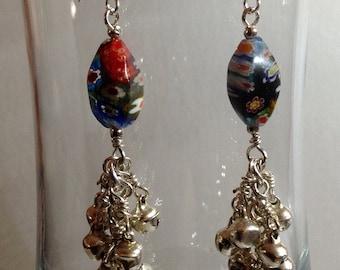 Hippie Glass Flower Power Bead Earrings With Bells, Dangle