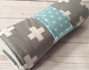 Cotton padded Nappy wallet and large waterproof change mat set in grey swiss cross and mint