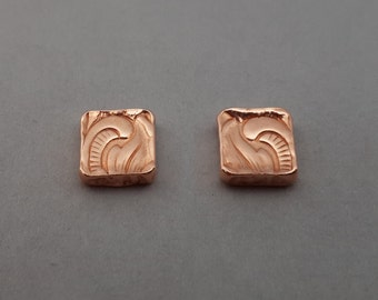 Art Nouveau Copper Earrings, tiny square post earring, organic copper earrings, simple delicate, sterling post, unique handmade, silversmith