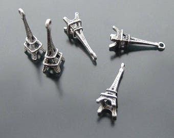 6 charms in antique silver 3D Eiffel Tower shape