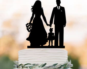 bride groom with daughter silhouette Wedding Cake topper with little girl,  family  silhouettecake topper