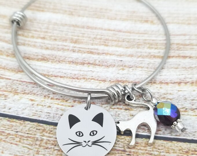 Cat Face Customizable Expandable Bangle Charm Bracelet, kitty, purr, long haired, domestic short haired, cat lady,