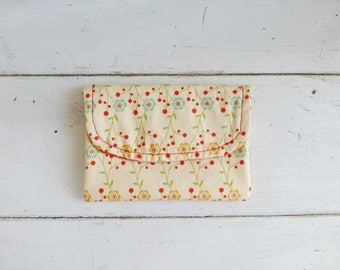Fabric Wallet, women's wallet, women's gift idea,  hook & loop tape closure, ready to ship, yellow wallet, floral print, cute accessory