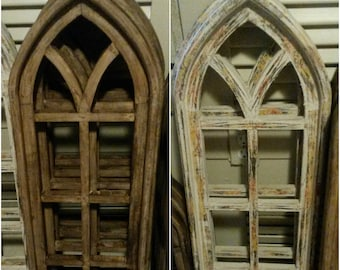 """12""""x36"""" Brown or Natural Wood Gothic Wooden Window"""