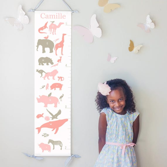 Personalized Alphabet Animals canvas growth chart in pinks