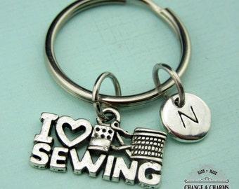 I Love Sewing Keychain, Sewing Keychain, Love Keychain, Sewing, Initial Keychain, Initial Charm, Personalized Keychain,Charm Keychain,CTX009