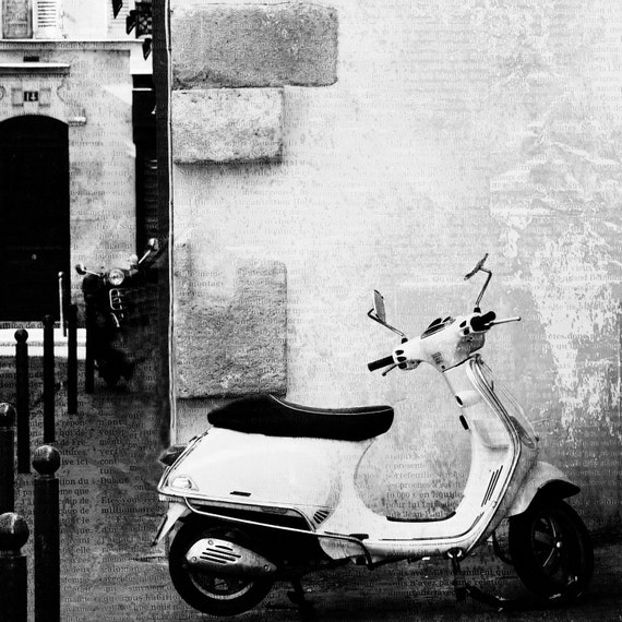 Paris Photography, Paris Black and White, Fine Art Photography, Paris Vespa, 12x12 Print