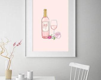 Rose Champagne Wine Print Art, Wall Art, Home Decor, Printable Art, Pink Art, Modern Print, Pink Watercolor Art, Pink Watercolour Print
