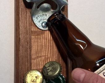 Wall Mounted Bottle Opener with Magnetic Cap Catcher in Reclaimed Walnut and Quartersawn Red Oak