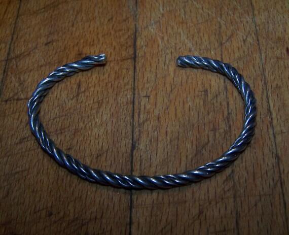 "Sterling Silver Native American Bangle Vintage Heavy Sterling Silver  Bracelets 11.4 grams  1/8"" wide Vintage Sterling Silver Tribal Bangle"