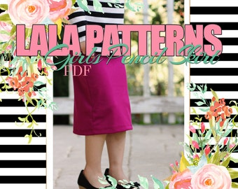 LALA GIRLS Pencil Skirt PDF Sewing Pattern Digital Modest