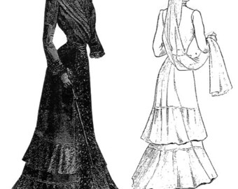 Victorian Ladies 1903 Downtown Abbey or  Mourning Dress Sewing Pattern