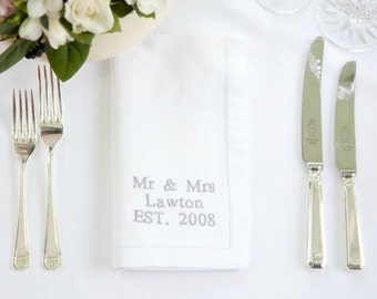 Personalised Napkins - Linen Napkin, Custom Cloth Napkins, Linen Hemstitch Napkins, 2nd Wedding Annivesary, Personalised Wedding