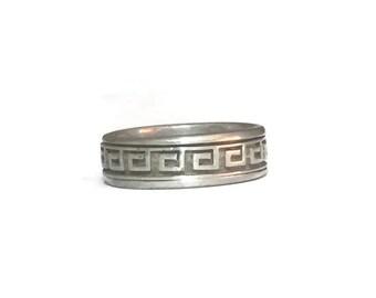 Greek Key Ring Size 8 Plus Mens Spinner Ring Size 8 Vintage Spinner Ring Vintage Thumb Ring Size 8 Mens Spinner Band  Women Spinner Ring