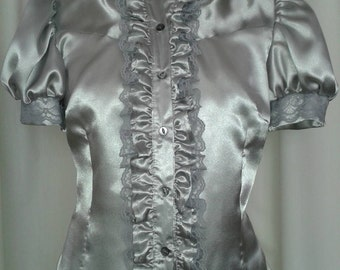 Silver ruffle puff sleeve fitted satin blouse size 12