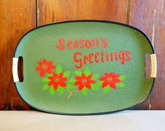 Vintage Holiday Serving Tray Seasons Greetings Christmas