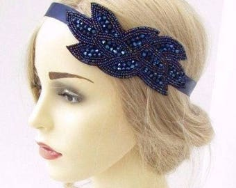 Navy Blue Beaded Headband Headpiece Vintage 1920s Great Gatsby Flapper 3403