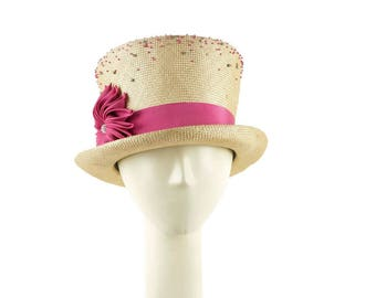 Top Hat for Women, Womens Hat, Kentucky Derby Hat, Straw Hat, Tophat, Womens Hat, Tea Party Hat, Ladies Hat, Occasion Hat, Mad Hatter Hat