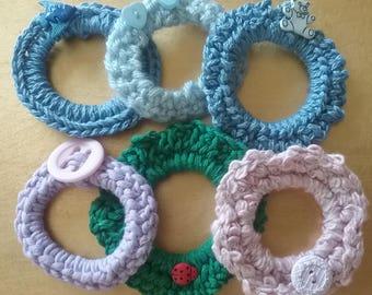 SALE 50% OFF Was 18.00 Now 9.00, Crochet Hair Elastics, Set of 6 Crochet Ponytail Holders, Crocheted Hair Ties, Hair Scrunchies, Girls Gift