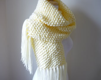 Long Scarf Chunky Knit with Fringe Womens Scarf Warm Winter Scarf  Scarf in Cream/Winter White 9 x 72 - Ready to Ship