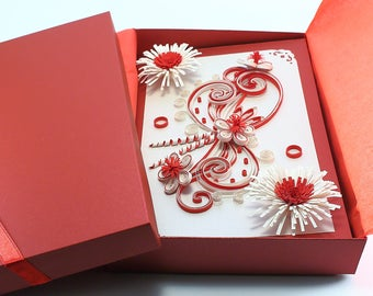 Quilling valentine card handmade greeting card for valentine